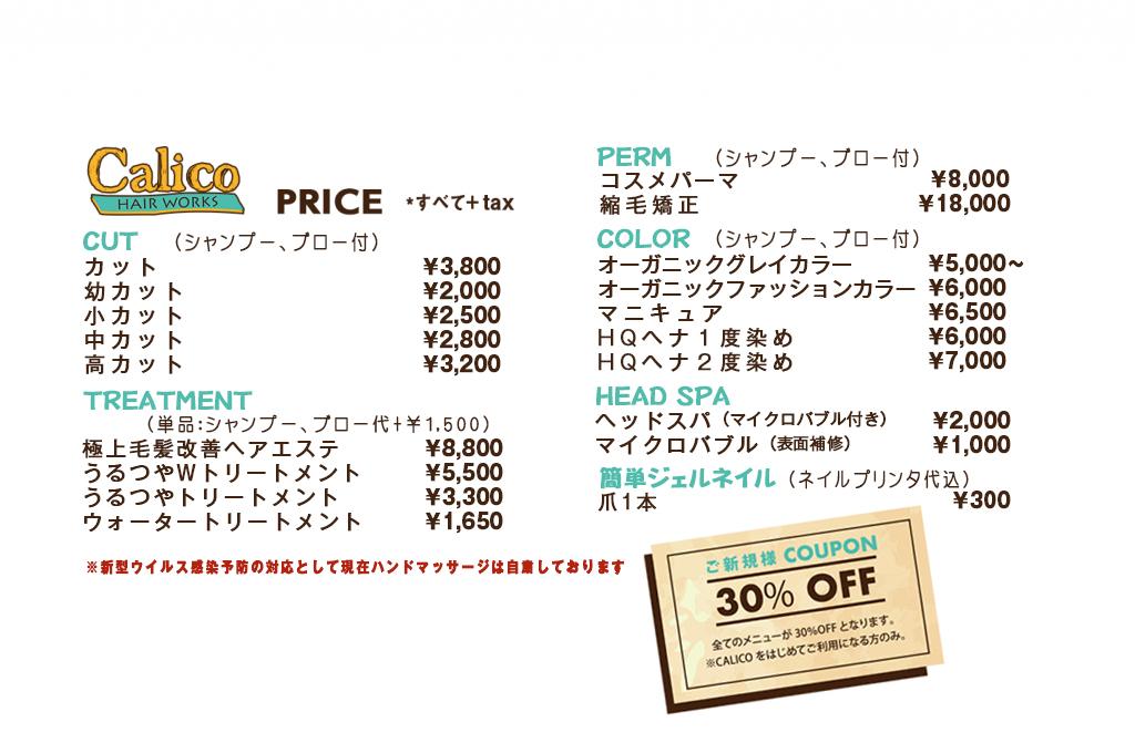 行田ヘナ美容室キャリコ 簡単ジェルネイル 価格表